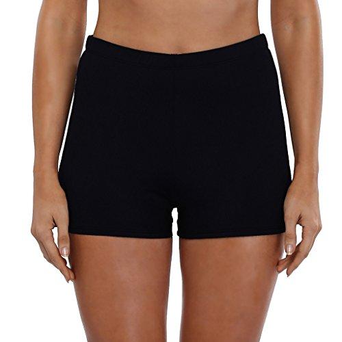 10a1186e800444 CharmLeaks Damen Bikinihose High Waist Tankinihose Hotpants Badehose Basic
