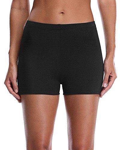 090472b1f519bc Lever Badeshorts Badehose Damen High Waist Bikinihose Schwimmhose Sport  Bikini Shorts UV Schutz Bade Hotpants Schwarz 2XL UK16