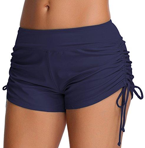 1baf05b2ca5dd OLIPHEE Damen Badeshorts Bikinihose Wassersport Hotpants Verstellbare  Kordel Bände Schwimmshorts Bunte Farben